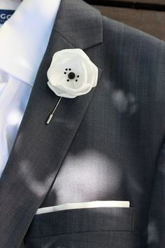 White satin flower with Swarovski crystals mens by Nevestica, $18.00