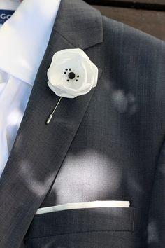 White satin flower with Swarovski crystals mens by Nevestica, $18.00