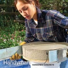 How to Build a Garden Fountain: Cast this fountain in a weekend with a few bags of concrete and some hardware odds and ends http://www.familyhandyman.com/landscaping/outdoor-fountains/how-to-build-a-garden-fountain/view-all