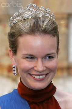 Princess Mathilde of Belgium wearing her Laurel Tiara