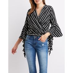 Charlotte Russe Striped Bell Sleeve Top ($15) ❤ liked on Polyvore featuring tops, multi, long sleeve surplice top, long tops, long length tops, cross over top and bell sleeve tops
