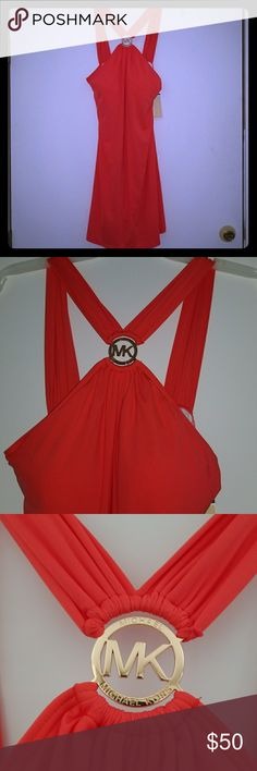 Nwt sz Medium Michael Kors sweim dress coverup Brand new and authentic by Michael Kor size medium in a coral sangria color.  Guys, this won't last long. I also have this listed on EBay so grab it before they do. It has a built in padded bra which the padding can be removed. Great cruise or beach party dress or just a beautiful cover-up. Retail is $102 Michael Kors Swim Coverups