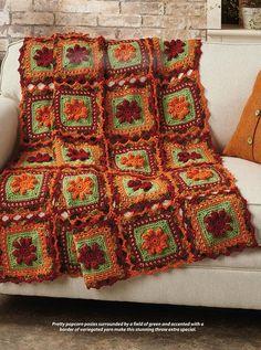 crochet crochet mantas Crochet World October 2017 Crochet World, Crochet Fall, Filet Crochet, Crochet Blanket Patterns, Granny Pattern, Crocheted Afghans, Afghan Patterns, Crochet Blankets, Crochet Granny