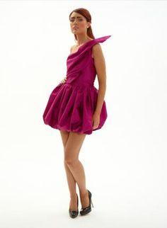 saffron,  Dress, puffball one shoulder feature corset, Chic