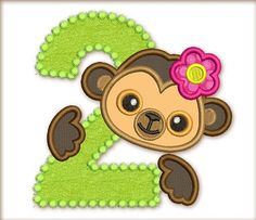 Funny Monkey Boy Happy Birthday Number 2 by EmbroideryLand on Etsy, $4.00