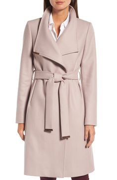 ce14eff2f790 wool blend long wrap coat by Ted Baker London. Gleaming hardware polishes  the elegant look of a long wrap coat cut from a cashmere-infused wool blend  and ...
