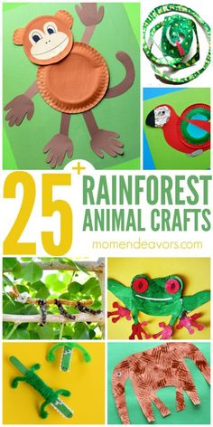 A roundup of 25 animal crafts! Great activity to add to any jungle or rain forest unit! A roundup of 25 animal crafts! Great activity to add to any jungle or rain forest unit! Rainforest Preschool, Rainforest Classroom, Rainforest Crafts, Rainforest Project, Preschool Jungle, Rainforest Theme, Animals Of The Rainforest, Rainforest Habitat, Brazil Rainforest