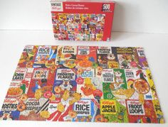 "Kellogg's Vintage 500 Piece Puzzle Collection 11 X 18.25"" Retro Cereal Boxes COMPLETE by VintageSistersx2 on Etsy"