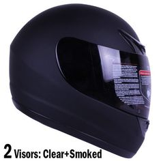 Matte Black Full Face Motorcycle Helmet DOT +2 « Holiday Adds