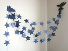 Navy Stars Garland - Shimmer Blue Party Garland - Outer Space Decor - Christmas Garland - Custom Colors
