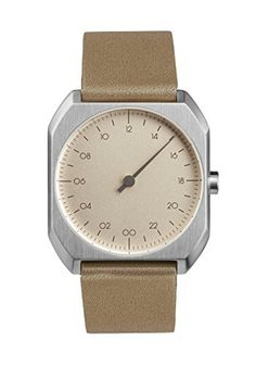 slow Mo 09  Swiss Made onehand 24 hour watch  Silver with beige leather band >>> Want to know more, click on the image.