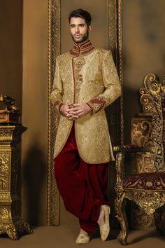 Creamish #gold & #red khinkwab #opulent bandh gala #sherwani with mandarin collar -IW340