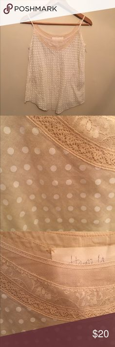 Anthropologie Tank Top Small Beige Dot and Lace Beautiful Anthroplogie Tank Top in Beige Dotted with lace and mesh trim SZ small excellent condition Anthropologie Tops Tank Tops