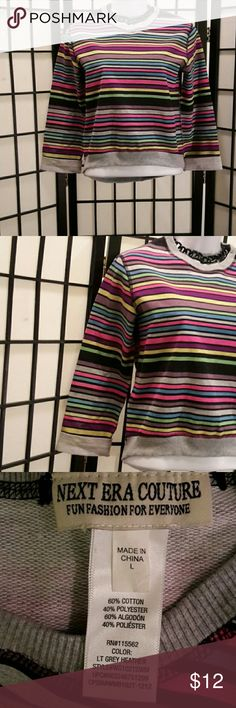 *NWOT* Next Era Couture Multi-color Short Crop Top Never Worn, Runs on the small size, Falls right above the waist, 3/4 Elbow Fold Sleeve, Stretch, Crewneck,Ribbed Neck & Hem, Accessories not included,  Thanks for sharing my closet, I will show Posh love by doing the same. New Era Couture  Tops Crop Tops