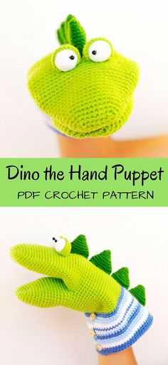 Dino the Hand Puppet. Adorable crochet pattern to make your own puppet! What a fun idea! Puppet toy amigurumi crochet pattern. #etsy #ad #pdf #crochet #pattern