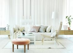 Awesome 5 Steps For A Perfect Swedish Interior Design : Modern White Floor White Curtain Wall Sofa Pillow Lamp Peach Ottoman Karl Anderson