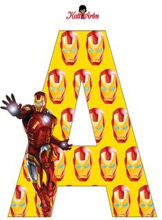 EUGENIA - KATIA ARTES - BLOG DE LETRAS PERSONALIZADAS E ALGUMAS COISINHAS: Homem de Ferro Alfabeto e Números 4th Birthday Boys, Iron Man Birthday, Avengers Birthday, Iron Man Party, Banner Letters, Alphabet And Numbers, Superhero Party, Note Paper, Childrens Party