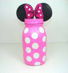 Minnie Mouse Bank, Disney Bank, Minnie Mouse Jar, Children's Bank, Mason Jar…