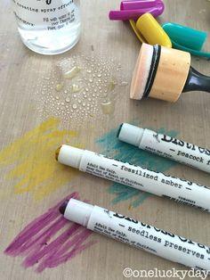 Tim Holtz distress crayons mat water blending tool hexagon punch photo step by step guide
