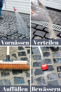 Kopfsteinpflaster verfugen Cobblestone is the perfect covering for driveways. Plastic-coated joint mortars keep the gaps in the cobblestones weed-free! Large Backyard, Backyard For Kids, Patio Design, Garden Design, Woodworking Items That Sell, Mosaic Garden Art, Garden Floor, Patio Flooring, Grout