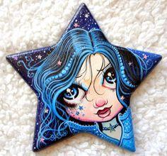 ORIGINAL FAIRY PAINTING -Star Fairy-Fairy Fantasy Art Wood Star Shape Acrylic 3D