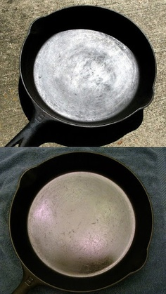 I Believe I Can Fry: Reconditioning & Re-Seasoning Cast Iron Cookware http://www.ibelieveicanfry.com/2010/12/reconditioning-re-seasoning-cast-iron.html
