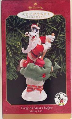 Disney 1999 Goofy as Santa's Helper Hallmark Ornament NEW Mickey & Co
