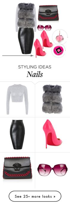 """Untitled #674"" by vernesta on Polyvore featuring Christian Louboutin, Oliver Peoples, Charlotte Simone, Versace, Eve Snow, Bobbi Brown Cosmetics, women's clothing, women, female and woman"