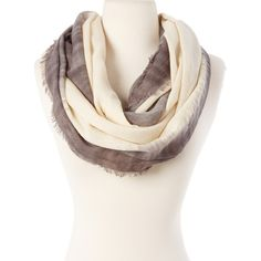 LA Double 7 Gray & Cream Ombré Infinty Scarf ($8.99) ❤ liked on Polyvore featuring accessories, scarves, tube scarves, gray scarves, infinity scarf, circle scarves and loop scarves