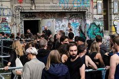Clubbers queuing outside infamous Berghain nightclub on a Sunday afternoon in Berlin Germany