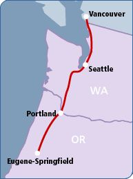 Amtrak Cascades - The start of our Journey.  The ship will be departing from Vancouver.
