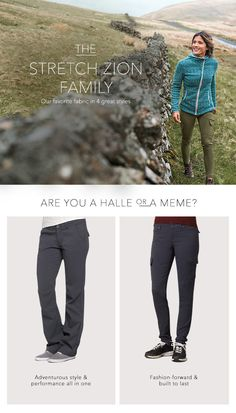 Join the Stretch Zion family! The Halle and Meme Pant both available at prana. Mode Plein Air, Trekking Outfit, Outdoorsy Style, Best Hiking Shoes, Hiking Boots, Climbing Outfits, Pants For Women, Clothes For Women, Hiking Clothes Women