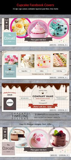 Creative, trendy Facebook timeline covers for cake, cupcake bakery or studio. http://graphicriver.net/item/cupcake-facebook-covers/8231224?WT.ac=portfolio_thumb&WT.z_author=designities