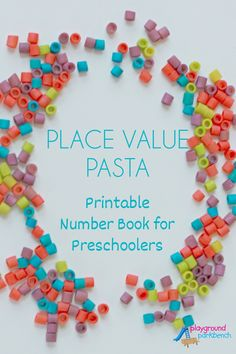 Teaching Place Value - A Printable Number Book to teach tens, units to preschoolers. Features 36 pages to write numbers both numerically and alphabetically, as well as space to depict numbers with counters. How to color pasta with hand sanitizer too Educational Activities For Preschoolers, Preschool Books, Preschool At Home, Fun Activities For Kids, Stem Activities, Summer Fun For Kids, Stem For Kids, Math For Kids, Fun Math