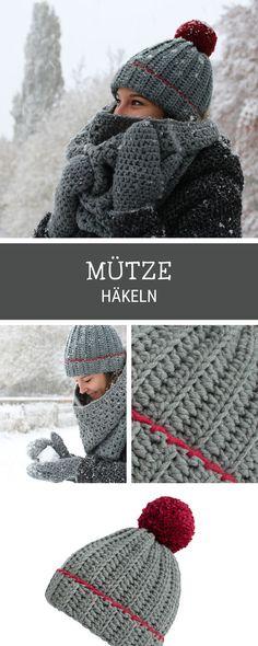 Häkelanleitung: Mütze häkeln mit großer Bommel / crocheting tutorial for a beanie with xxl pompom via DaWanda.com