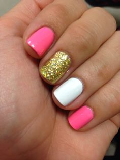 Pink gold glitter nails