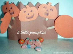 Make your own five little pumpkins sitting on a gate craft   momstown arts and crafts
