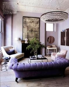 I love this room and the furniture in it. Elle Decor article features Niche Modern lighting in home of Ochre founders Interior Exterior, Home Interior, Interior Decorating, Decorating Ideas, Interior Ideas, Purple Interior, Luxury Interior, Interior Livingroom, Bohemian Interior