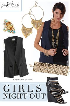 Gold bling pairs perfectly with a girls night out! #fashionfeature #parklanejewelry