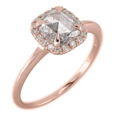 Carat Clear Speckled Cushion Diamond Halo Engagement Ring, Recycled Rose Gold - Point No Point Studio - 3 Grey Diamond Engagement Ring, Engagement Rings, Grey Cushions, Rough Diamond, 1 Carat, Natural Diamonds, Cushion Diamond, Rose Gold, Stone