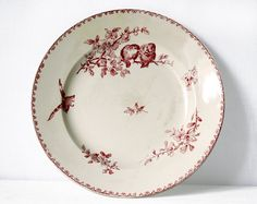 LARGE 12.2 1900 French Sarreguemines Round  Dish  door RueDesLouves, $110.00