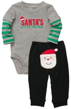 Carter's Baby Boys 2-piece Christmas Bodysuit Pant Set (NB-24M) (Newborn, Grey)…