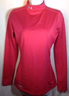Under Armour ColdGear Mock Turtleneck Medium Womens Fittd Long Sleeve Shirt Rasp
