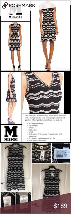 Stars & Stripes Knit Dress New with tag, M Missoni's signature knit dress in timeless black and white.  Bold knit of wavy stripes and stars.  V-neck, sleeveless, pullover style.  Black spaghetti strap slip/lining underneath.  Size 40=U.S. 4.  Retails for $595.  Ships next day. M by Missoni Dresses Mini