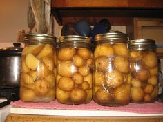 Canned Potatoes. These are delicious, especially in the winter.I use them in potato salad, soups, and fry them. We always can some with and without the skins.No more mushy or sprouted potatoes .