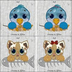 """""""Cute Applique Animals 8x8"""" Stitch these sweet #MachineAppique animals onto quilts, garments and more! Kids will love anything you stitch them on! Includes both boy and girl mouse, puppy, bunny, bird, and kitten too. Adorable!"""