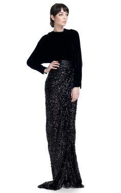 Elegant and dramatic with the cowl back dolman top and sequin wrap maxi skirt.  I flare and slit on the skirt is a nice touch.  Love how it drapes.  I would also consider switching out with a red satin ribbon to create more drama on the back.