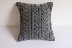 Hand knit pillow cover dark gray charcoal cable by Adorablewares