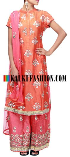 Buy Online from the link below. We ship worldwide (Free Shipping over US$100) http://www.kalkifashion.com/orange-straight-fit-suit-embellished-with-gotta-patti-patch-work-only-on-kalki.html Orange straight fit suit embellished with gotta patti patch work only on Kalki