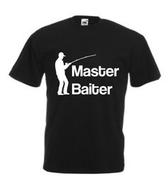 MASTER BAITER T-SHIRT  Product Description: * 100% Cotton Preshrunk Ring Spun Jersey Knit for cool comfort (some colours may contain polyester) * 150 g/m2 (4.5 oz per sq yd)) * Seamless double stitched 2cm neckband - will retain shape * Our custom gildan tshirt has taped neck and shoulders for comfort and style * Sleeves and bottom hems are double stitched for strength and durability * Quarter-turned for a neat finish